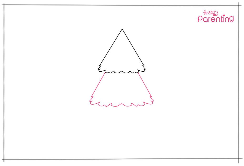 Draw similar mid section of Xmas tree