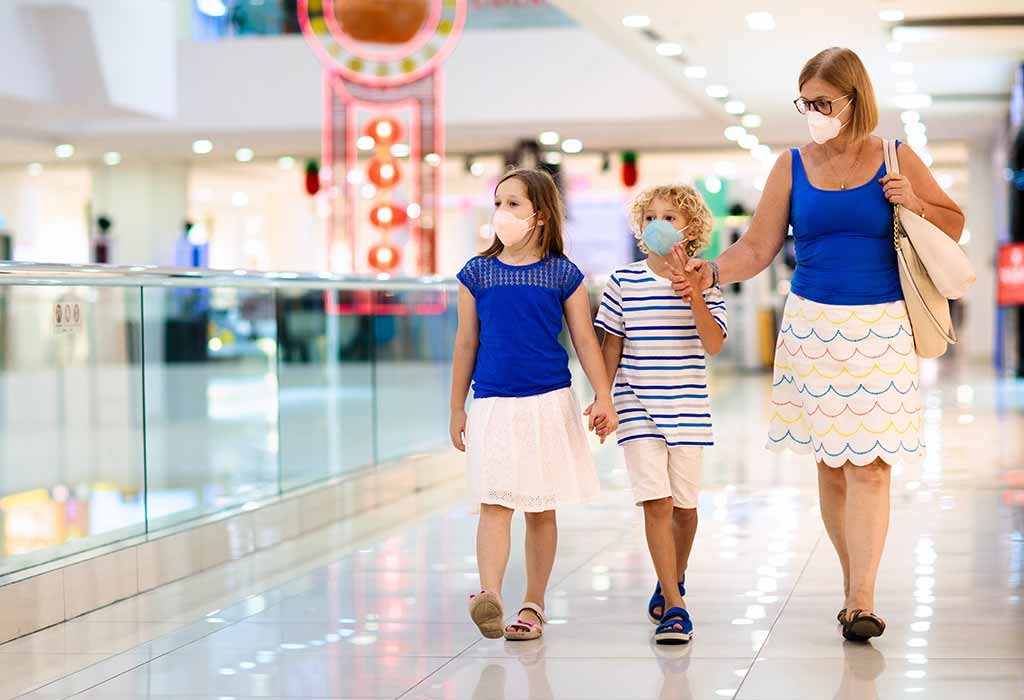 parent walking with kids