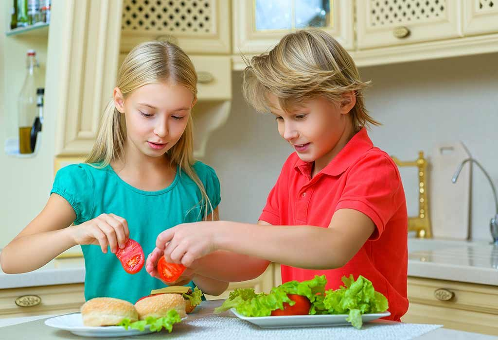 Kids making sandwich and burger