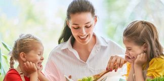 children excited about mom's salad