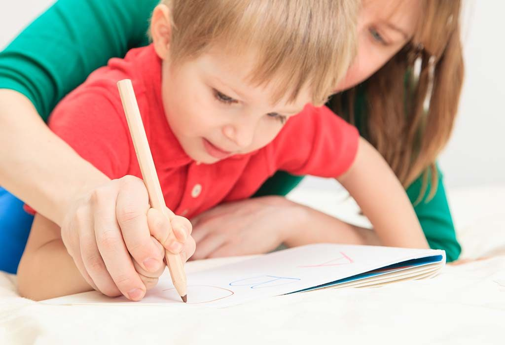 toddler writing letter