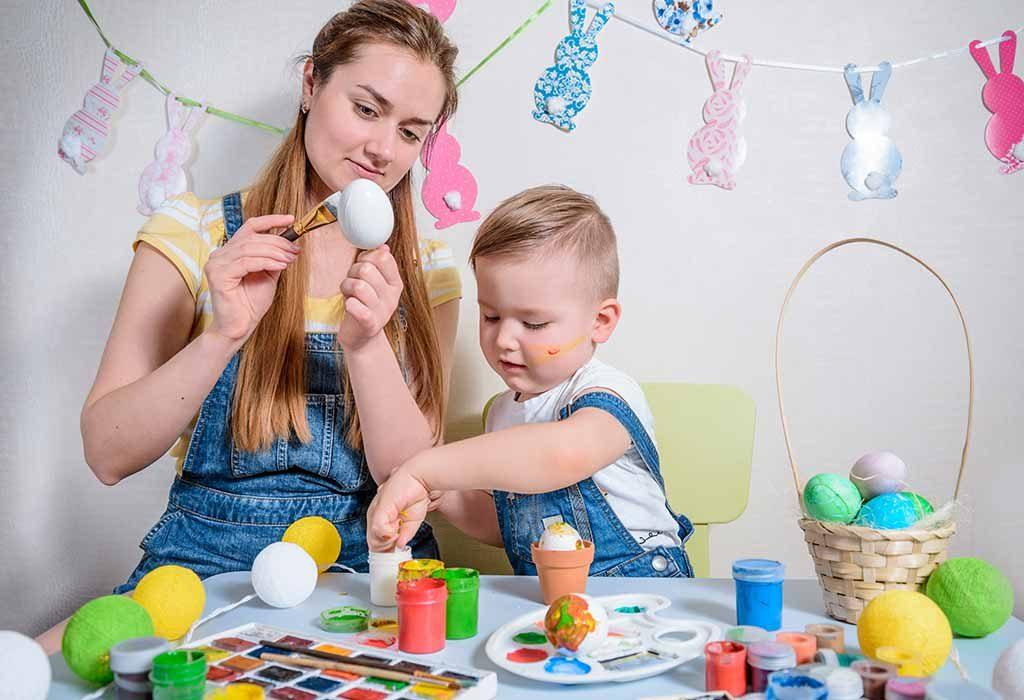 mom and kid DIYing