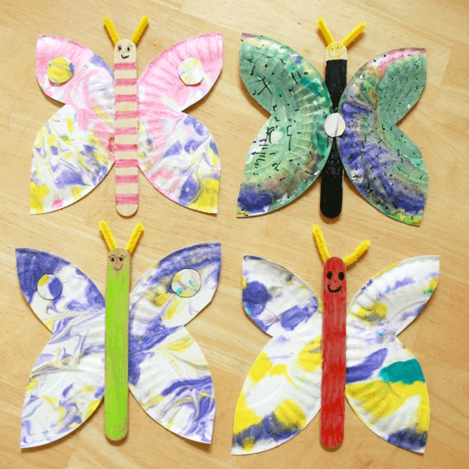 marble paper plate butterfly