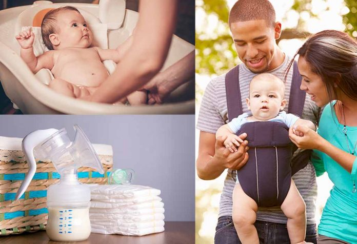 baby in a bather, breastpump, parent carrying baby in a carrier