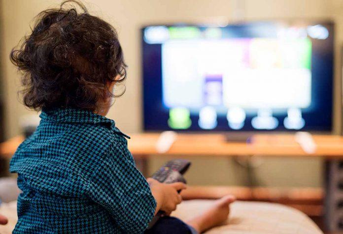 kid watching cartoon