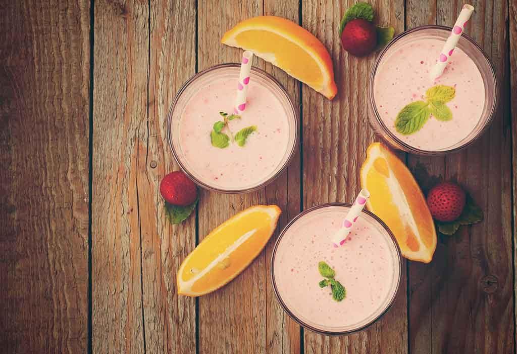 Strawberry, Basil Leaves, and Orange Lactation Smoothie