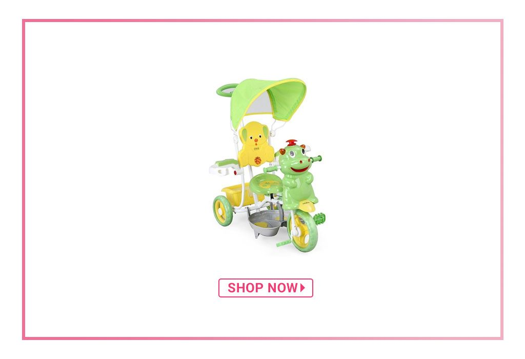 Babyhug Happy Hippo Tricycle With Canopy & Parental Push Bar