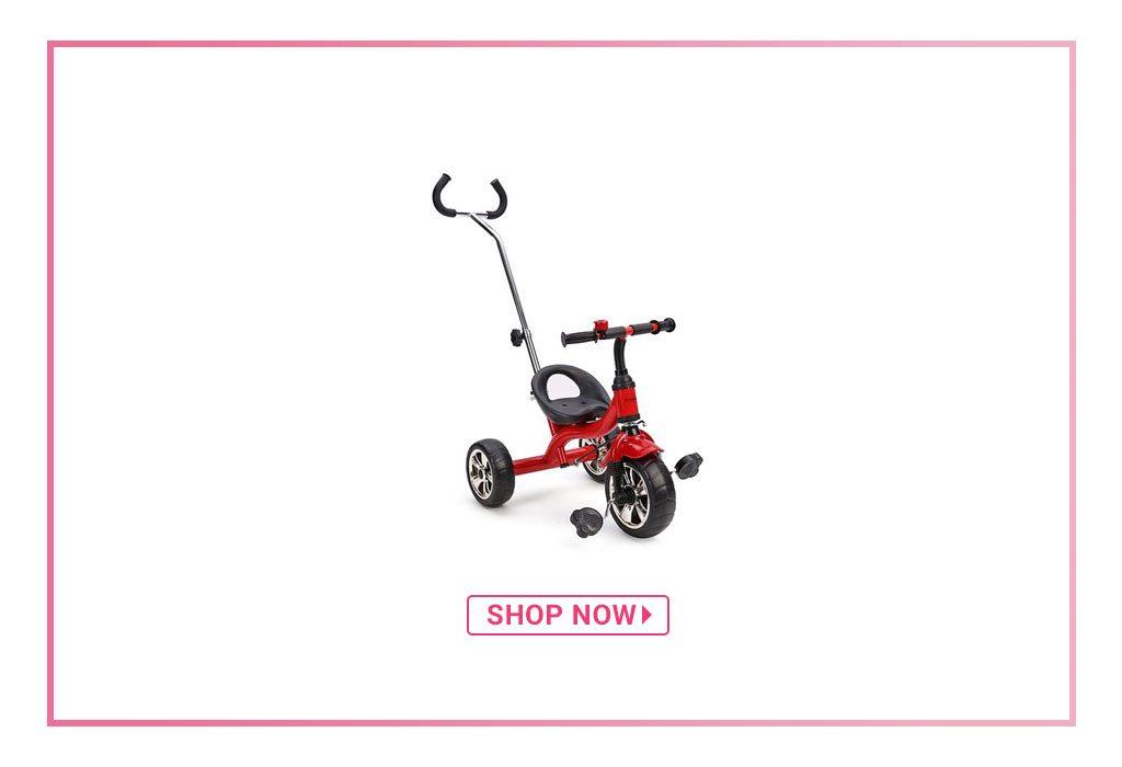 Babyhug Pluto Metal Tricycle With Parent Push Handle