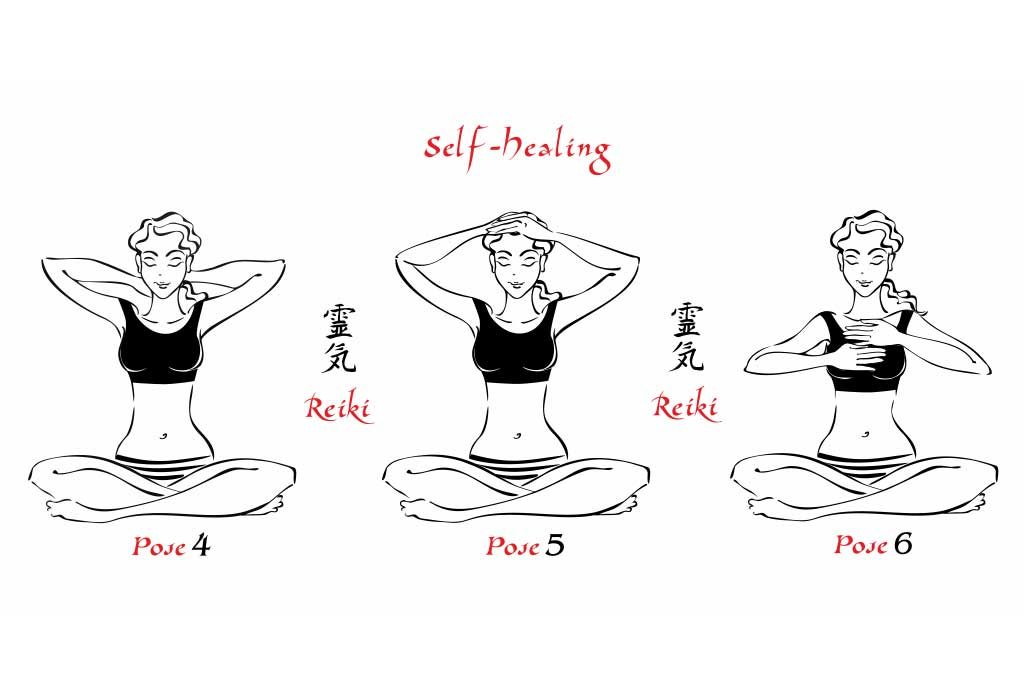 reiki poses for the back and top of the head, and chest