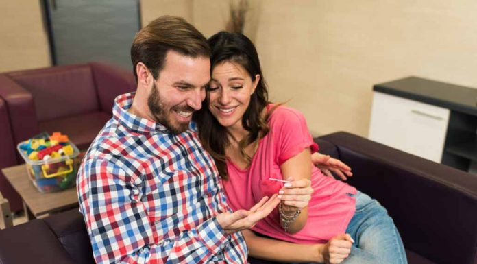 couple after over a positive pregnancy test