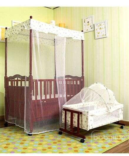 Babyhug Windsor 2 in 1 Wooden Baby Cot With Cradle & Storage Space
