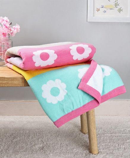 Babyhug Premium Coast Flower Print Cotton Knitted All Seasons Blanket