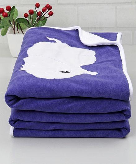 Babyhug Premium Fleece & Sherpa Blanket Elephant Patch