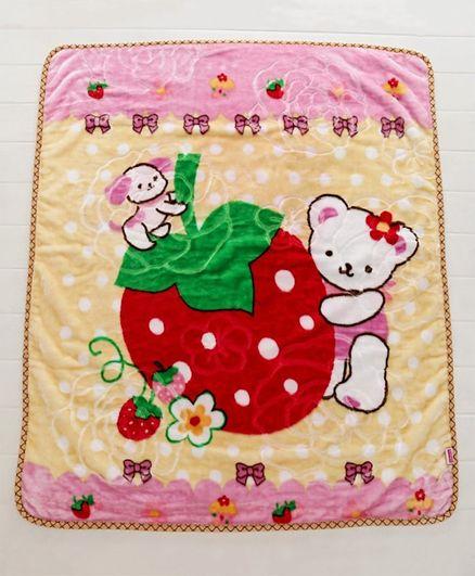 Babyhug Premium Embossed Mink Blanket Kitty Print