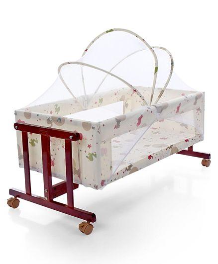 Babyhug Sleep-in Cradle With Mosquito Net & Swinging Function