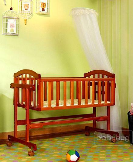 Babyhug Ionia Wooden Cradle With Mosquito Net