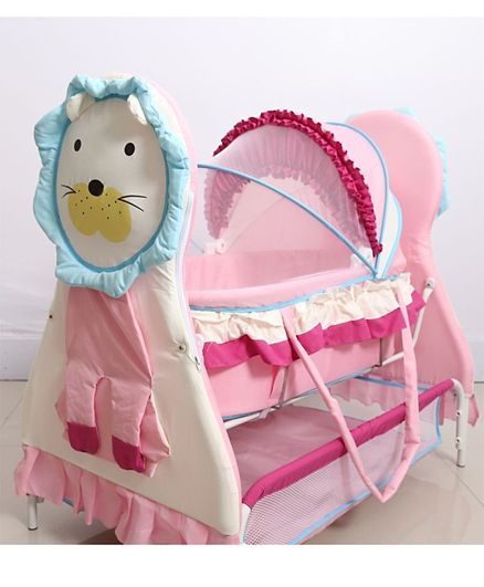 Babyhug Lion Print 2 in 1 Cradle cum bassinet with Mosquito Net and Swing Lock function
