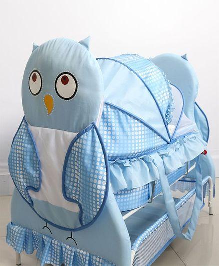 Babyhug Owl Print With Mosquito Net and Swing Lock function