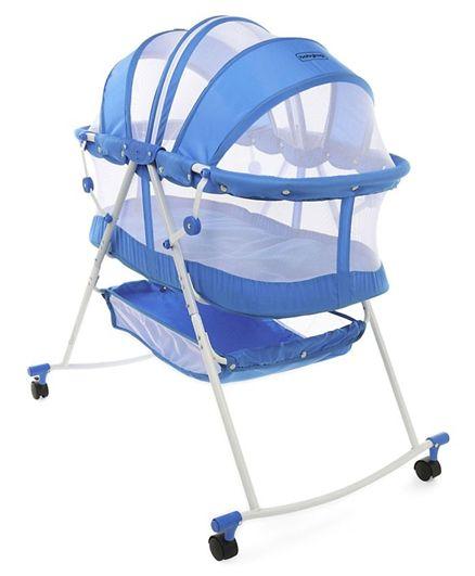 Babyhug Lullaby Bassinet With Zippered Mosquito Net & Storage Basket