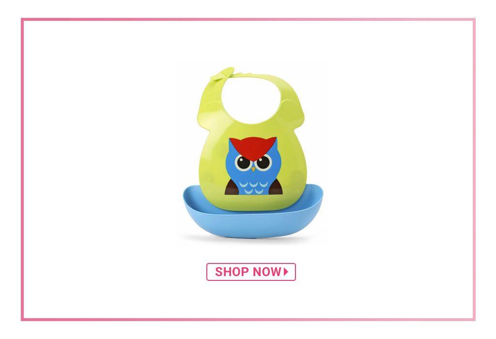 Babyhug Plastic Bib with Detachable Crumb Catcher Owl