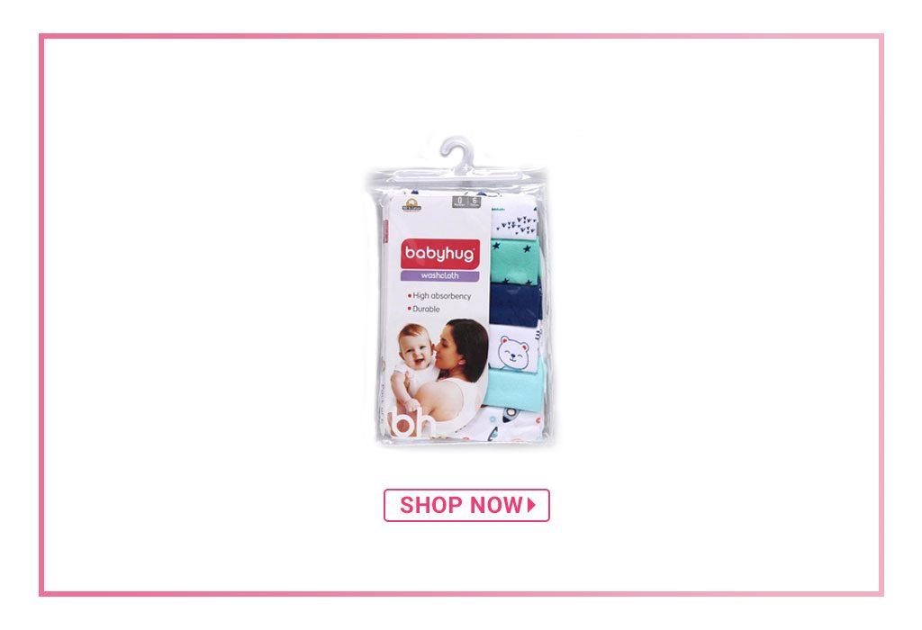 Babyhug 100% Cotton Washcloth, Pack of 6
