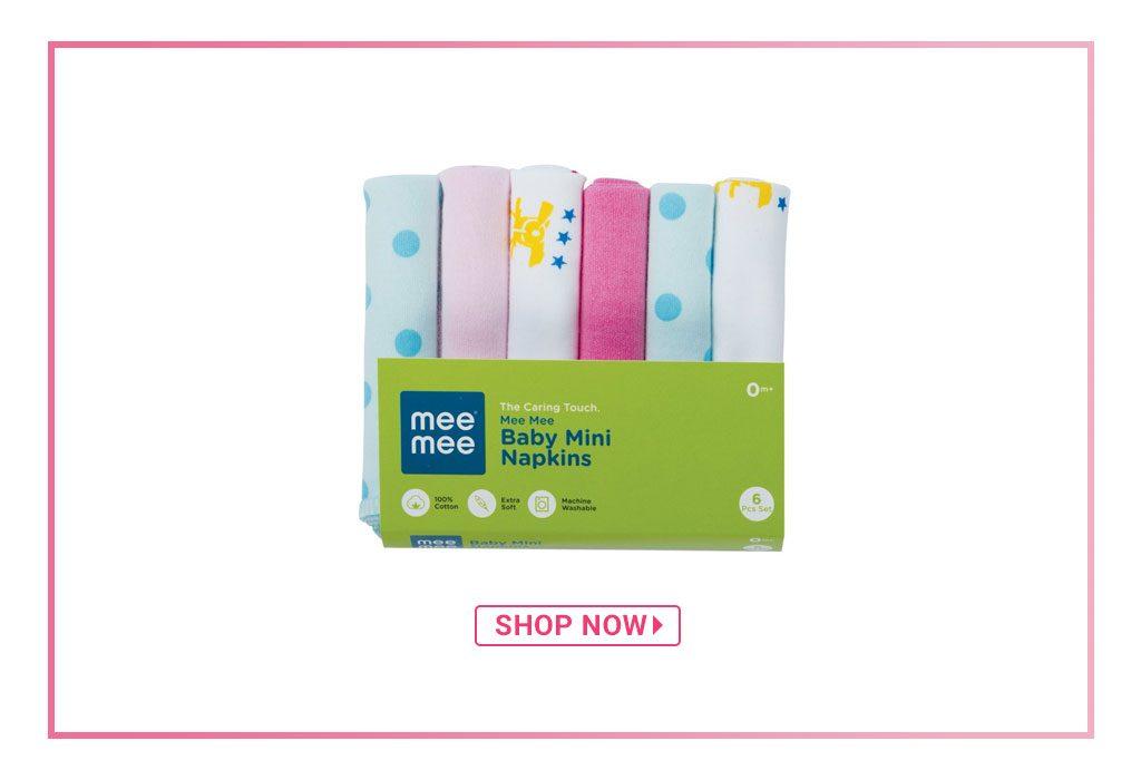 Mee Mee Baby Printed Mini Napkins, Pack of 6