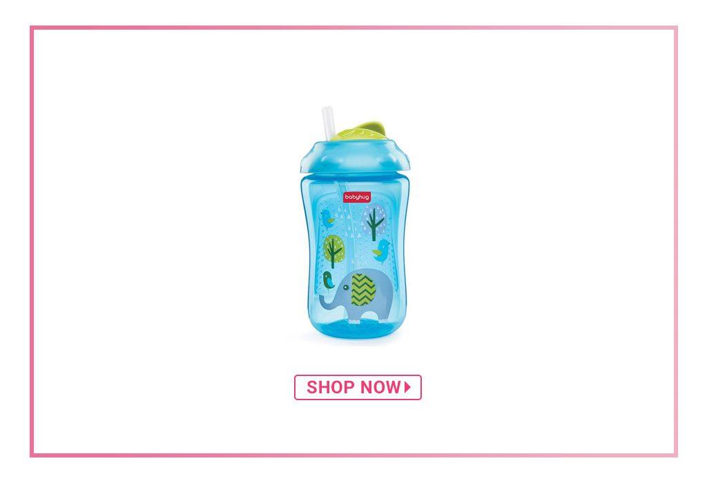 Babyhug Swipey Straw Sipper Elephant Print