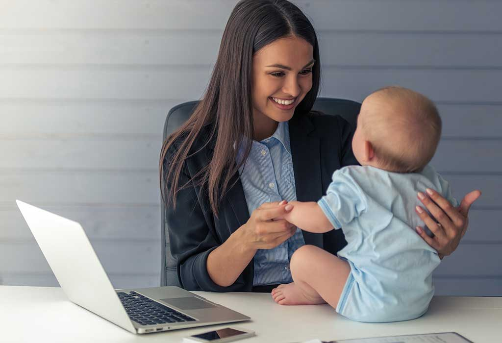 working mom with child