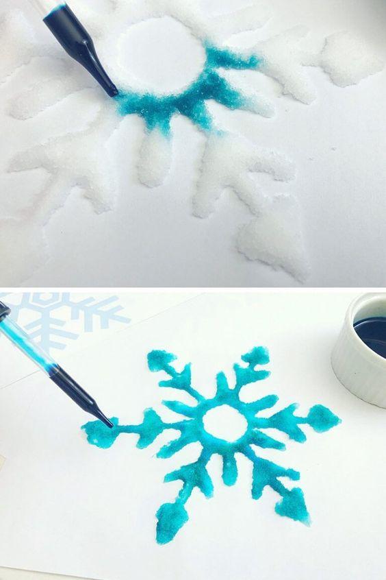 Kid Friendly Salt Painting Snowflakes - Stepwise Guide