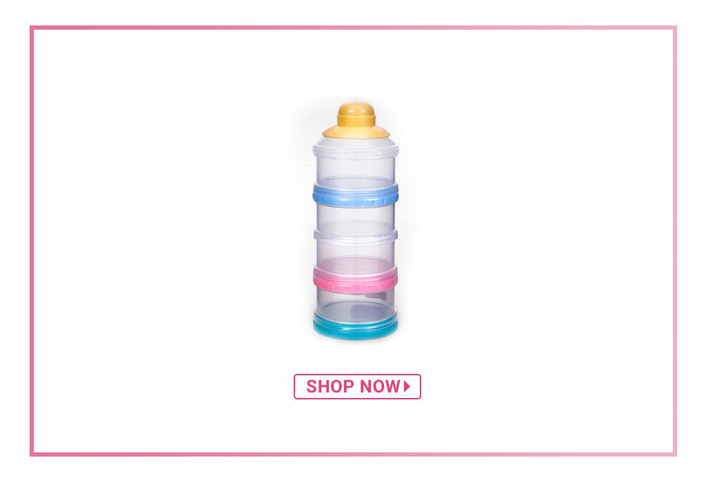 Babyhug Milk Powder Container 4 Racks 75 ml each - Blue Pink Yellow