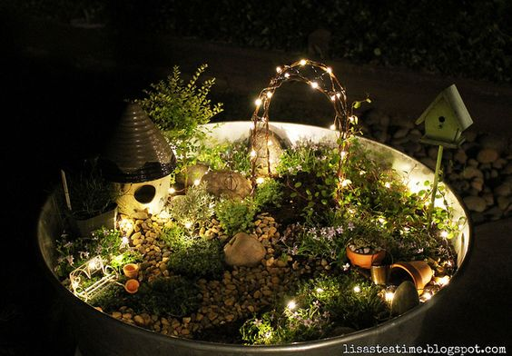 Whimsical Glowing Lights Fairy Garden