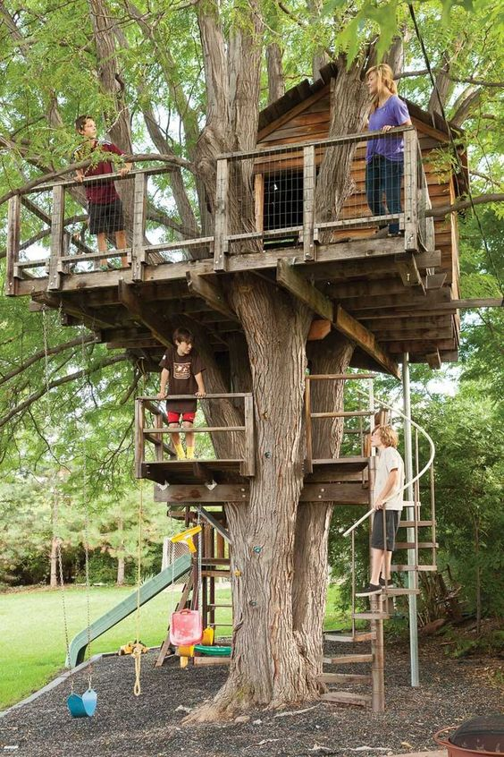 DIY Two Level Treehouse For Kids