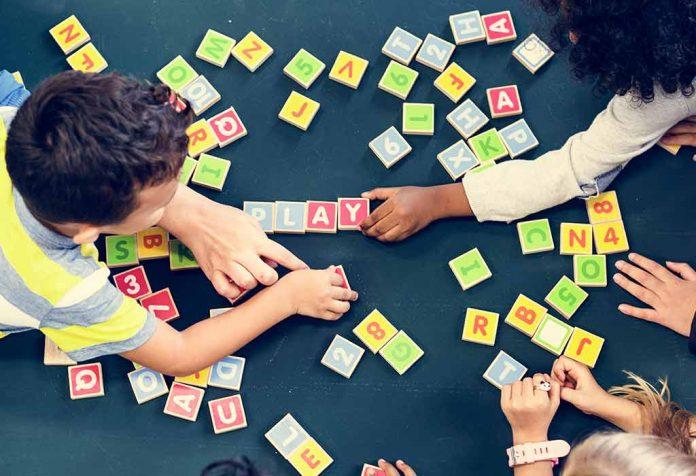 kids playing word game