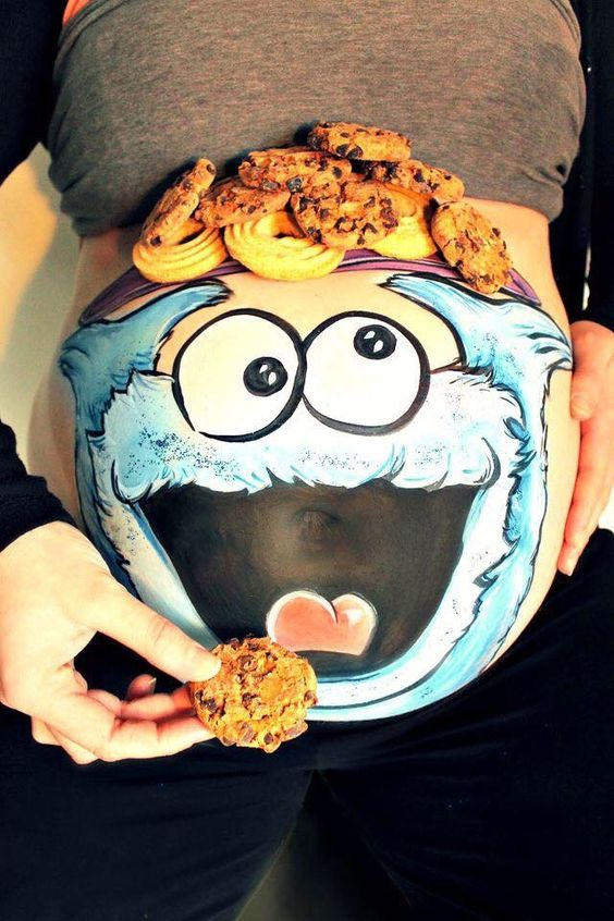 Cookie Monster Painted Belly