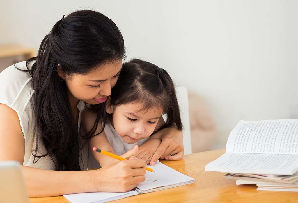 mom teaching child