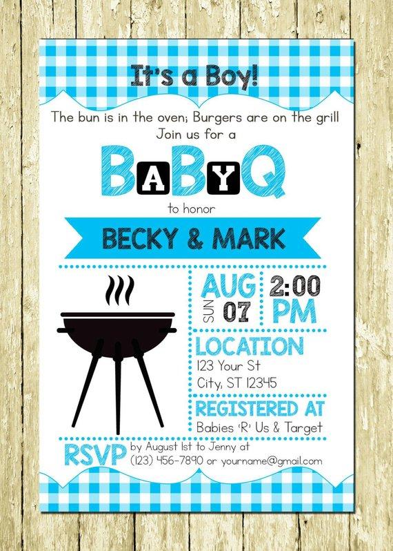 BBQ Themed Boy Baby Shower Invitation