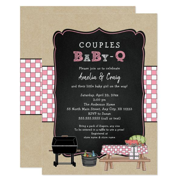 BBQ Themed Girl Baby Shower Invitation