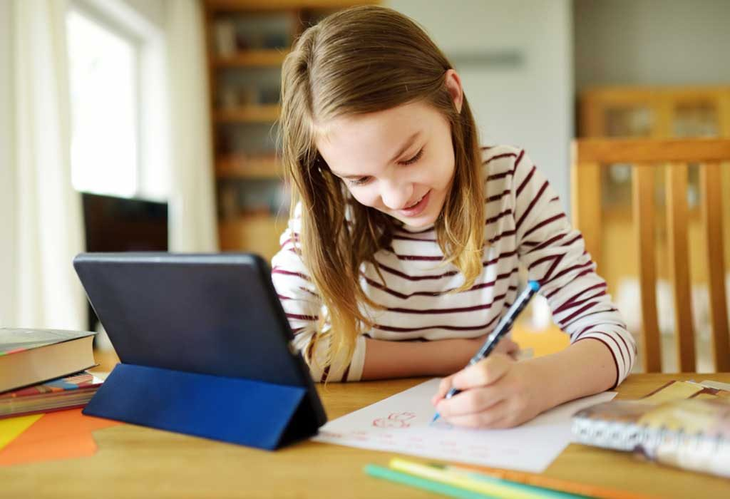 child using a spelling app at home