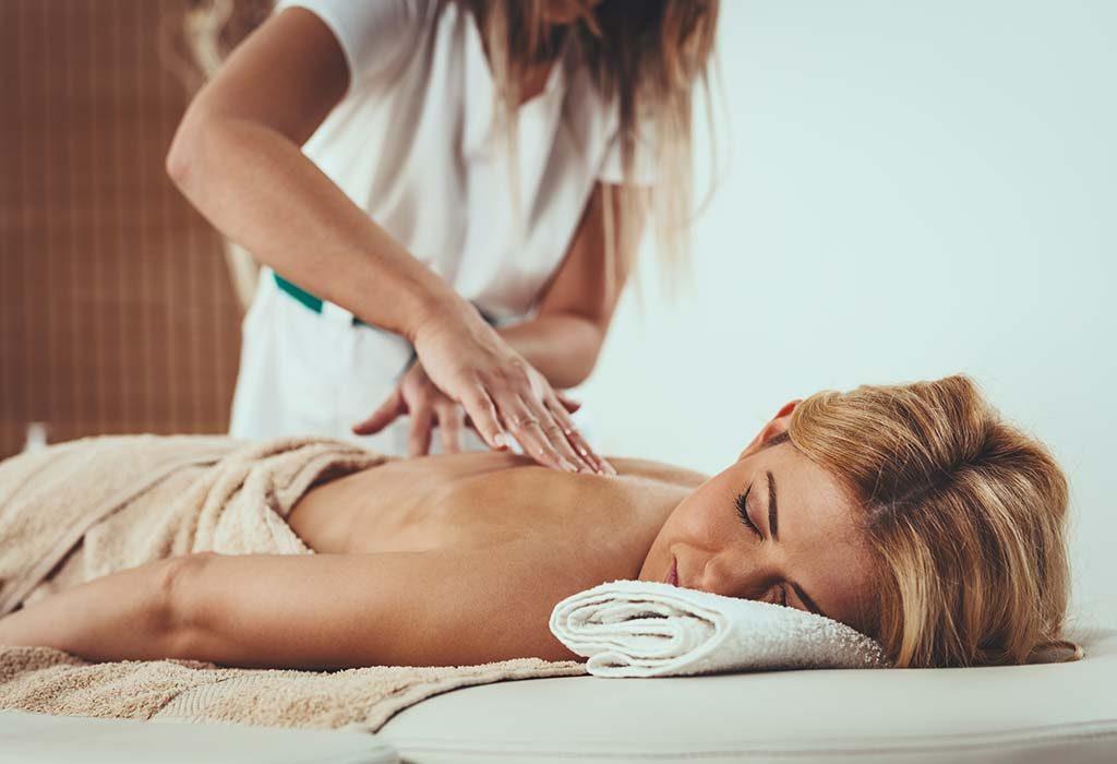 woman getting a fertility massage