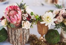 woodland-themed baby shower centrepiece