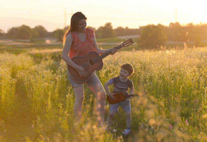 mom and son singing country songs about kids