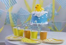 rubber duck-themed baby shower decor