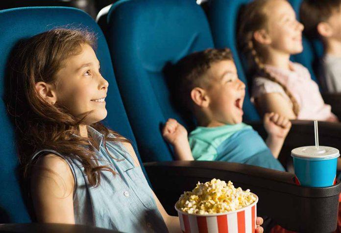children watching action movie for kids
