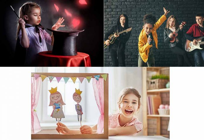 puppet show, magic show and music band