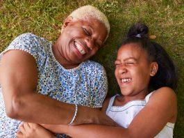 granddaughter spending time with grandma