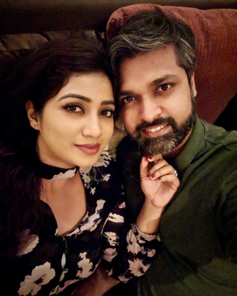 Shreya Ghoshal with her husband Shiladitya Mukhopadhyaya