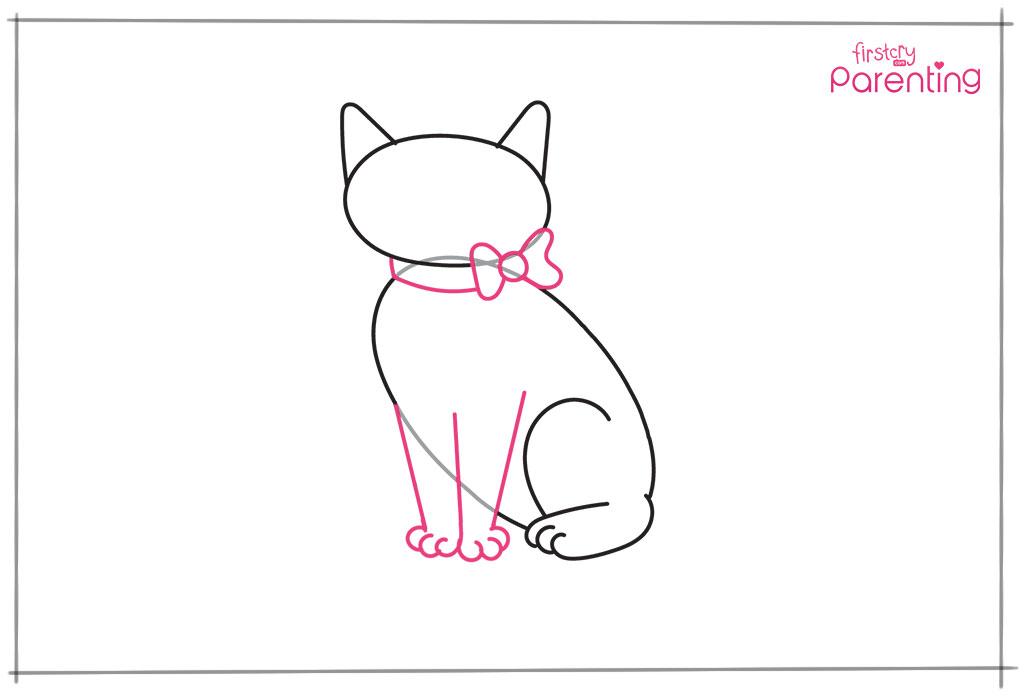 बिल्ली के आगे के पैर और बो ड्रॉ करें