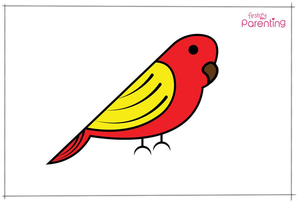 चिड़िया को कलर करें