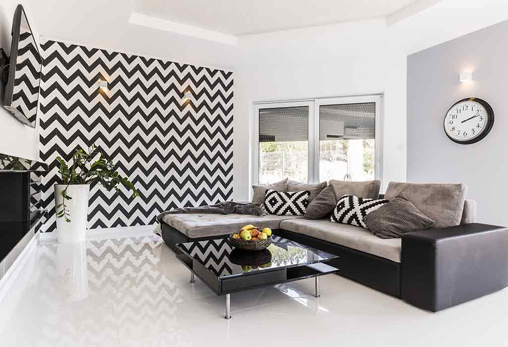 BLACK-n-WHITE PATTERNED STATEMENT WALL DESIGN
