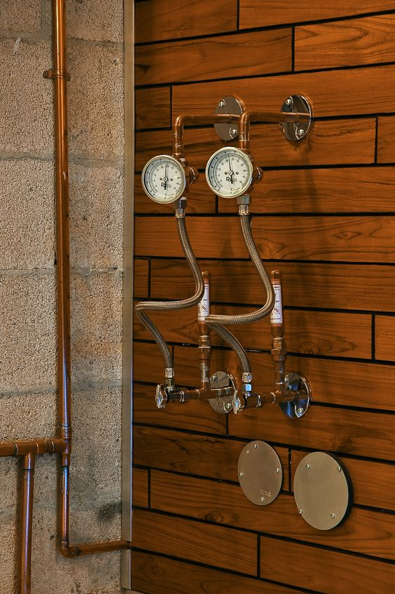 Retro Steampunk-style Outdoor Showers